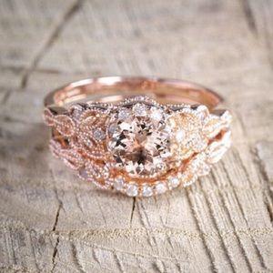 Ring 18K Rose Gold Filled Morganite Wedding 2pcs